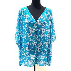 Torrid 4 Blue Semi Sheer Floral Blouse Top